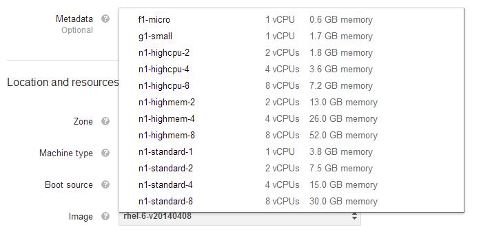 Google Compute Engine (GCE) Machine Type